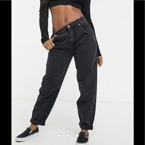 Pull&Bear slouch fit jeans in black from ASOS